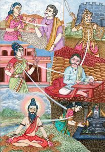 Illustration of reincarnation in Hindu art