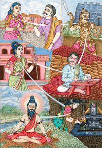 Illustration of reincarnation in Hindu art