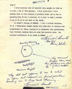 Kenneth Arnold's report to Army Air Force intelligence dated July 12, 1947