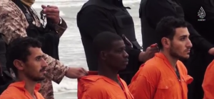 Coptic Egyptian Christians moments before they are beheaded by ISIS militants in Libya.