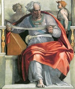 The Prophet Joel by Michelangelo, Sistine Chapel, 1508-1512