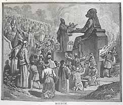 The offering of a child to the god Molech