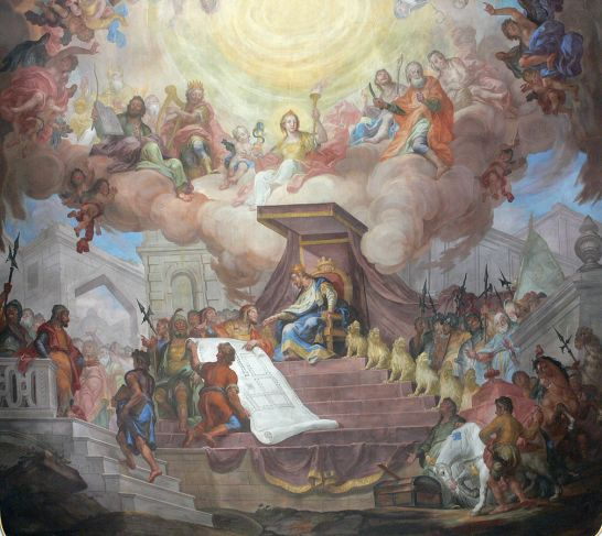 Solomon At His Throne, painting by Andreas Brugger, 1777