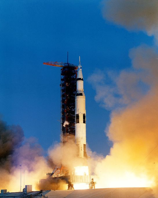 Apollo 13 launches from Kennedy Space Center, April 11, 1970.