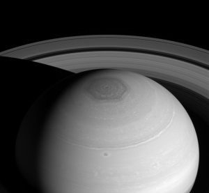 Saturn - North polar hexagon and vortex as well as rings (April 2, 2014). NASA/JPL-Caltech/Space Science Institute