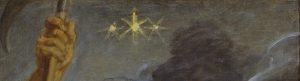 Close up of Rubens painting showing 3 six pointed stars, totaling the number of the Beast, 666.