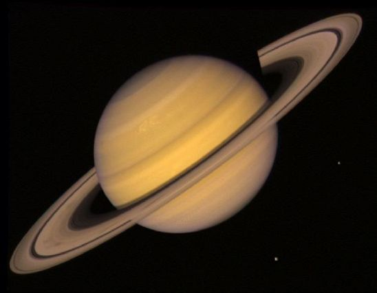 Saturn as captured by Voyager 2 on July 21, 1981 at a distance of 21 million miles (33.9 million kilometers).