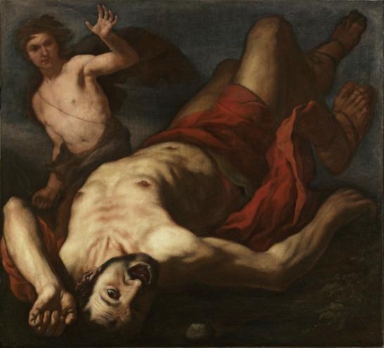 David and Goliath. by Antonio Zanchi, 1631-1722