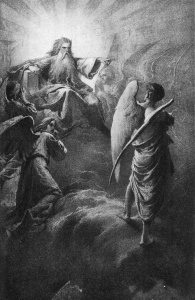 Lucifer before the Lord, by Mihály Zichy, 1902
