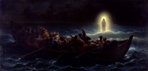 Christ walking on the sea, by Amédée Varint, 19th century.