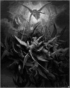 Michael casts out rebel angels. Illustration by Gustave Doré.