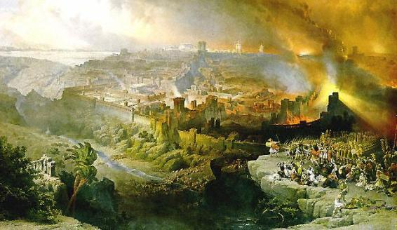 The Siege and Destruction of Jerusalem by the Romans Under the Command of Titus, A.D. 70, Oil on canvas, 1850, David Roberts.