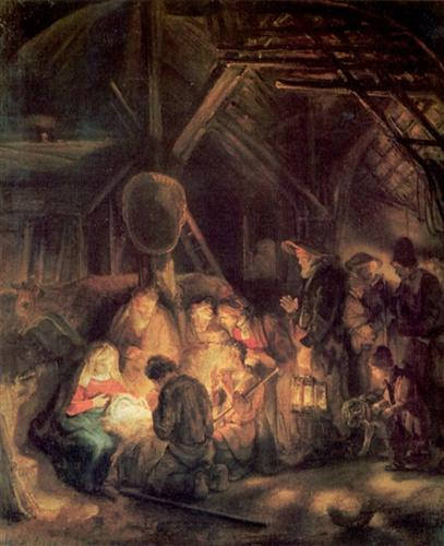 Adoration of the Shepherds, by Rembrandt, 1646.