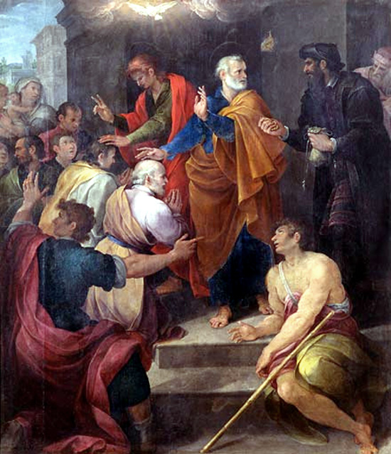 Peter's conflict with Simon Magus by Avanzino Nucci, 1620.