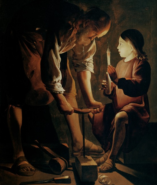 Joseph working a beam before the Child Jesus who seems already to see the wood of the cross. Georges de La Tour, 1642.