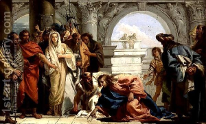 Christ and the woman taken in adultery by Giovanni Domenico Tiepolo, 1752.