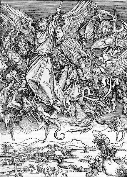 Michael Fighting the Dragon by Albrecht Durer, 1498.