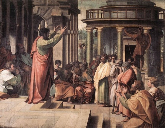 Saint Paul delivering the Areopagus sermon in Athens, by Raphael, 1515.
