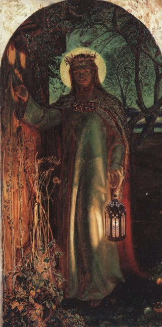 "The Light of the World by William Holman Hunt (1851-1856), representing the figure of Jesus preparing to knock on an overgrown and long-unopened door, illustrating Revelation 3:20: ""Behold, I stand at the door and knock; if any man hear My voice, and open the door, I will come in to him, and will sup with him, and he with Me""."