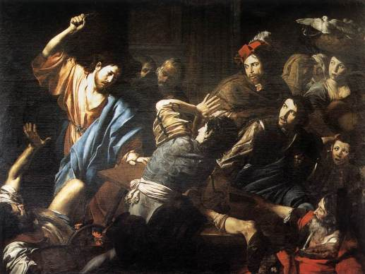 Christ Driving the Money Changers out of the Temple by Valentin de Boulogne, 1618.