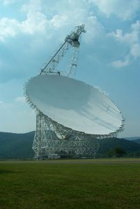 The Green Bank Radio Telescope, at Green Bank, West Virginia, USA, the largest fully steerable radio telescope dish in the world.