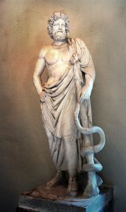 Statue of Asclepius, exhibited in the Museum of Epidaurus Theatre. Photo by Michael F. Mehnert, licenced under Creative Commons, Wikipedia.