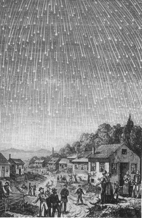 November 1833 Leonid meteor shower. Engraving by Adolf Vollmy (1889)