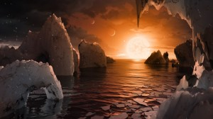 Artist's illustration of the surface of a planet in the TRAPPIST-1 system, which hosts seven roughly Earth-size worlds. Credit: NASA/JPL-Caltech